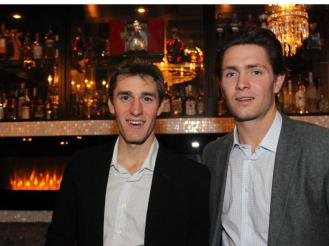 From left, Ottawa Senators teammates Kyle Turris and Zack Smith at a benefit dinner hosted by team captain Erik Karlsson on Monday, October 26, 2015, at Salt restaurant in Little Italy for the shelter dog rescue organization, Sit With Me. (Caroline Phillips / Ottawa Citizen)