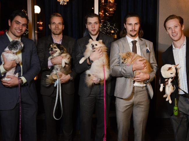 (L-r) Ottawa Senators players Cody Ceci, Milan Michalek, Bobby Ryan, captain Erik Karlsson, and Erik Condra pose with some of the dogs attending Hopeful Hearts dog rescue fundraising dinner at Salt restaurant on Preston st. on Sunday, Nov. 2, 2014. (James Park / Ottawa Citizen)
